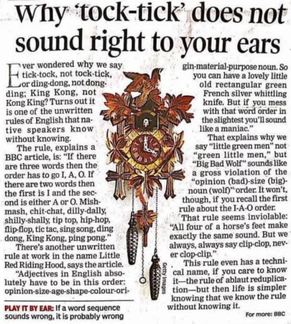 Why 'tock-tick' does not sound right to your ears? - Ever wondered why it's 'tick-tock' and not 'tock-tick'?