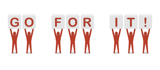 Go for it image (people raising letters)