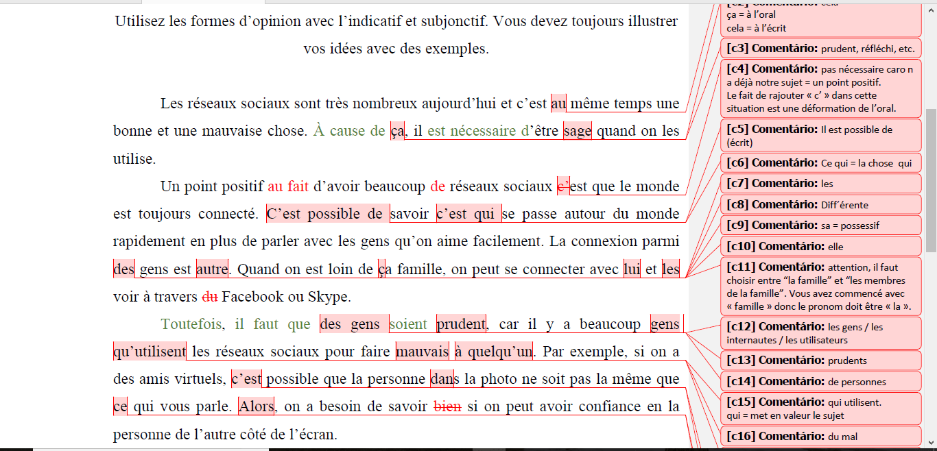 Corrections in a French text full of mistakes