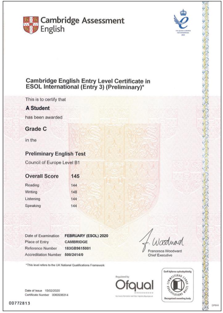 Cambridge English B1 Preliminary certificate sample