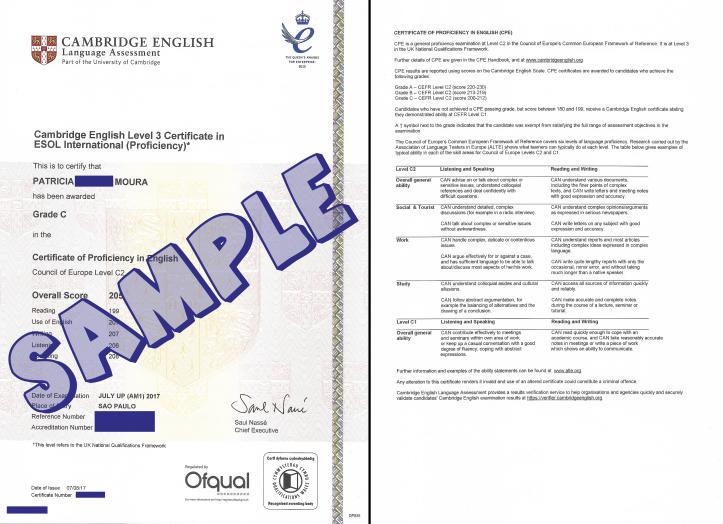 Cambridge English CPE (C2 Proficiency) certificate sample
