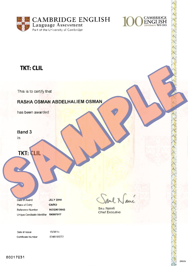 Cambridge TKT CLIL Certificate Sample