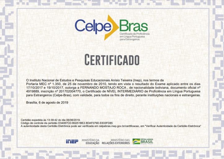 Certificado CELPE-Bras