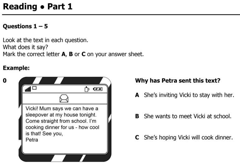 B1 Preliminary Reading Exam Part 1 Multiple Choice Sample