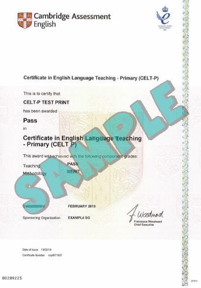 Sample Cambridge CELT-P Certificate