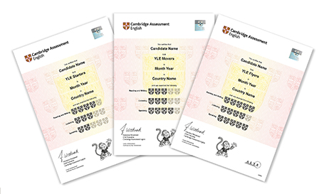 YLE Cambridge Certificate samples with shields