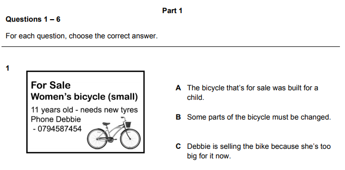 Sample one for Cambridge English A2 Key Multiple Choice exam