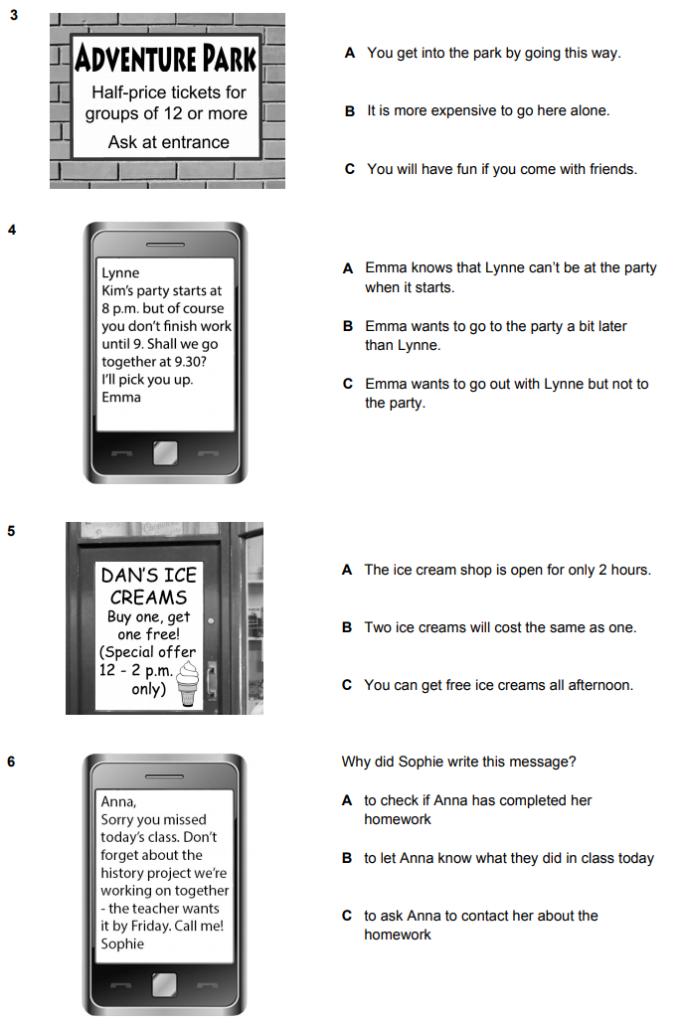 Sample 3-6 for Cambridge English A2 Key Multiple Choice exam