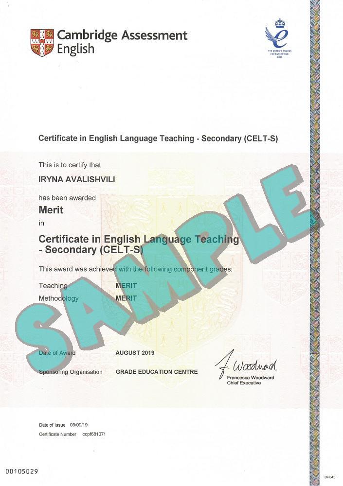 Cambridge CELT-S certificate sample