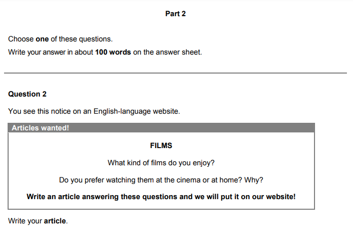 Cambridge B1 Preliminary Writing Exam Sample - Writing an article