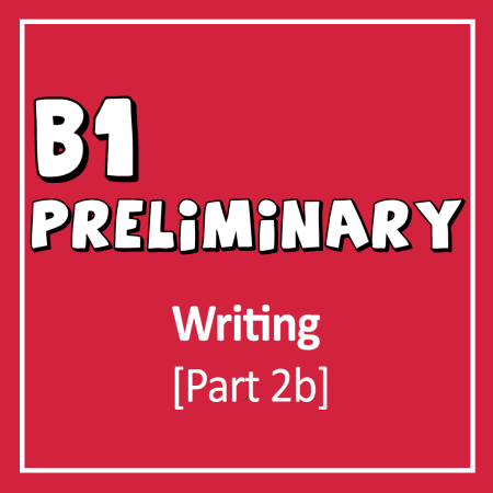 Cover for Cambridge English B1 Preliminary Writing Exam part 2 writing a story