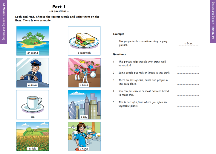 YLE A1 Movers Reading and Writing Part 1 Sample