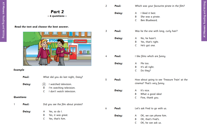 YLE A1 Movers Reading and Writing Part 2 Sample