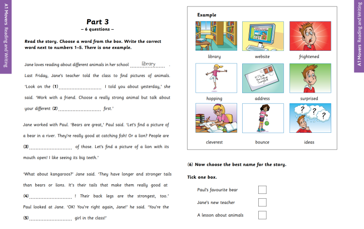 YLE A1 Movers Reading and Writing Part 3 Sample