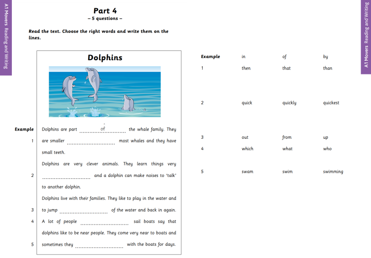 YLE A1 Movers Reading and Writing Part 4 Sample