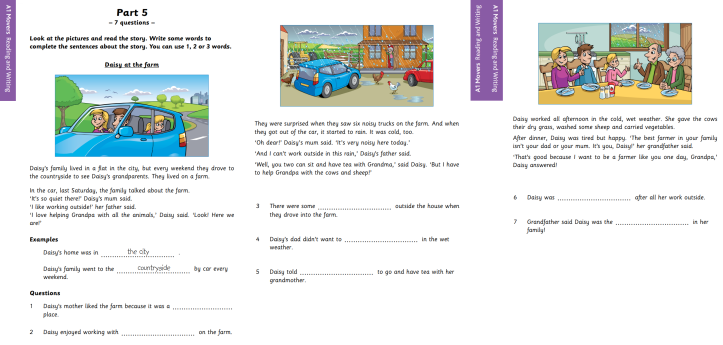 YLE A1 Movers Reading and Writing Part 5 Sample