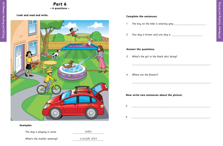 YLE A1 Movers Reading and Writing Part 6 Sample