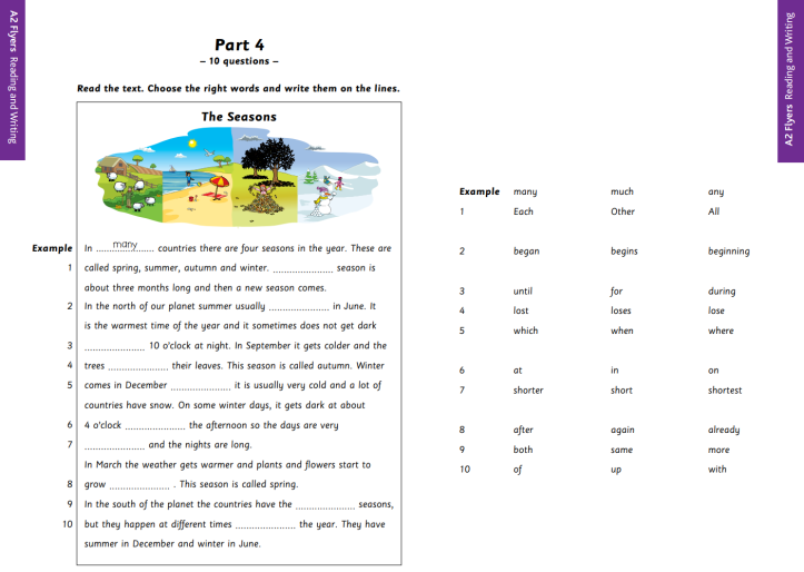 YLE A2 Flyers Reading and Writing Part 4 Sample
