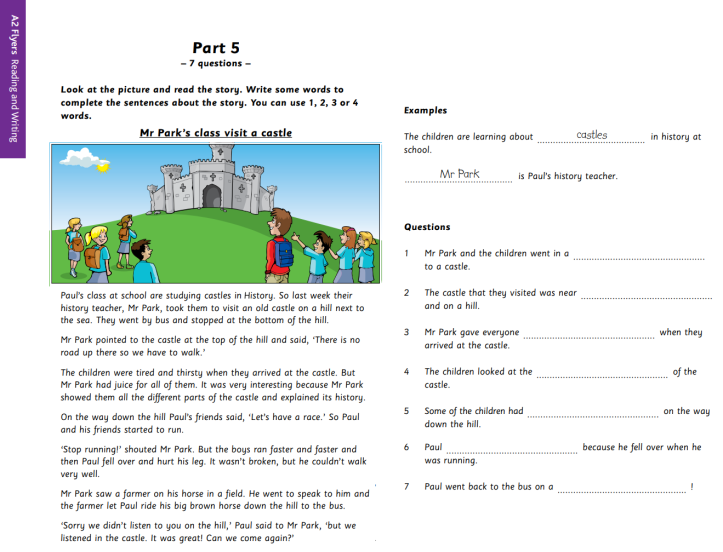 YLE A2 Flyers Reading and Writing Part 5 Sample
