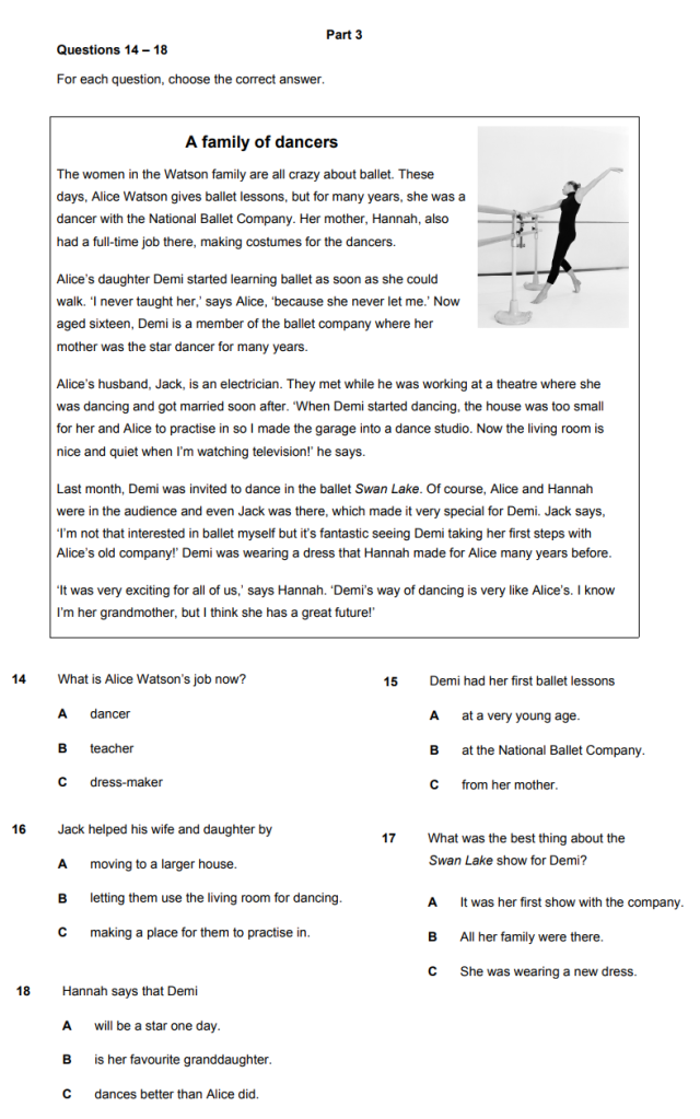 Cambridge A2 Key Reading and Writing Part 3 Sample