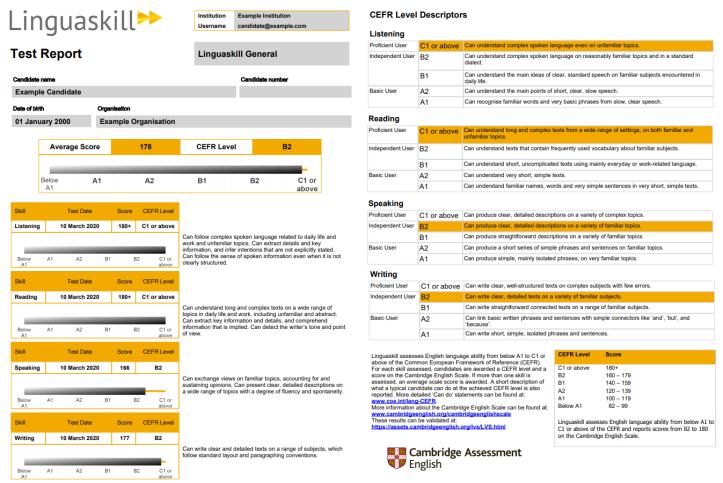 Linguaskill Agent Detail - Report