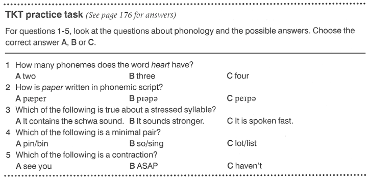 Cambridge TKT Module 1 Part 1 Phonology Sample